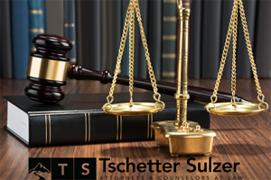 Gavel, Law Book, & Scales with Tschetter Sulzer Logo
